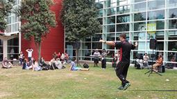 Student slacklining at UCOL Palmerston North campus