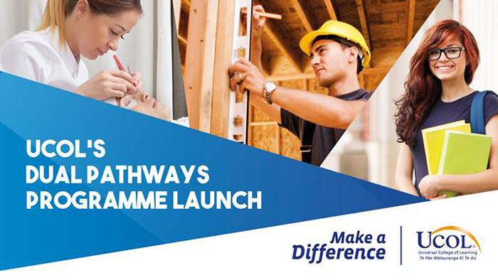 A graphic for the launch of UCOL's Dual Pathways initiative