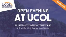 A poster for UCOL's Open Evening in Whanganui on 20 June 2018