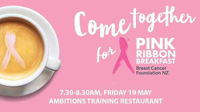 Ambitions Pink Ribbon Breakfast poster graphic