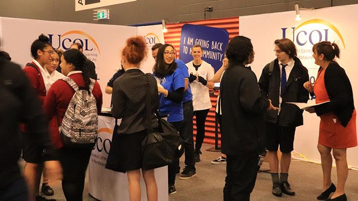 A photograph of the UCOL team at Sort it Careers Expo