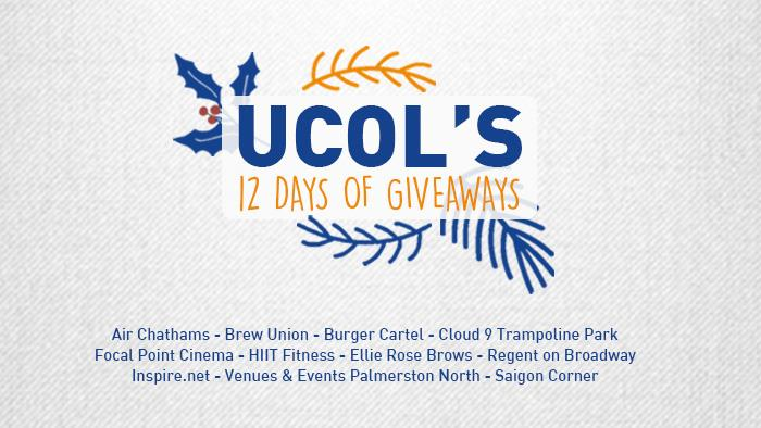 A promotional graphic for UCOL's 12 Days of Giveaways