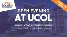 A poster for UCOL's Open Evening in Palmerston North in June 2018