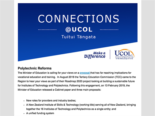 A screenshot of UCOL's latest stakeholder newsletter