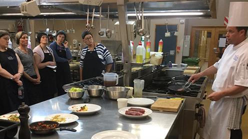 A photograph of local secondary school food technology teachers upskilling with UCOL's Chef Training Team.