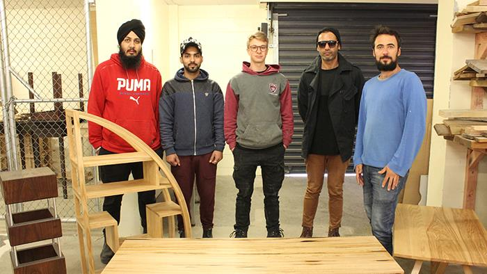 A photograph of UCOL's Diploma in Furniture Design Students 2017