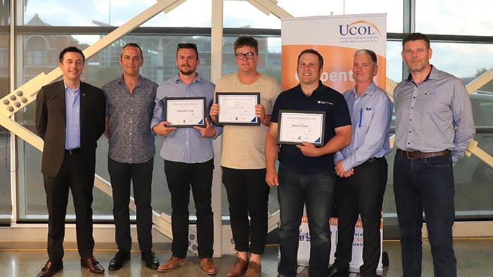 Andrew Neilson, Darren Shadbolt, Campbell Grieg, James Cole, Shane Tooley, Danny Reilly and Cameron Isles at the scholarship ceremony.