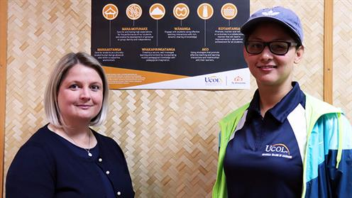 A photograph of UCOL Lecturers Johannie Spies and Farzanah Desai