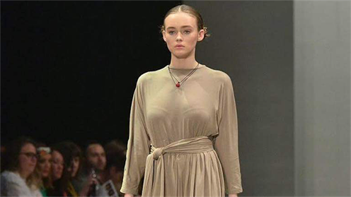 A photograph of a Nola dress on the catwalk at New Zealand Fashion Week