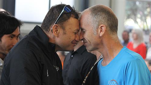 A photograph of a hongi during UCOL's powhiri in Palmerston North