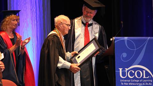 Ray Beech receiving an award at UCOL Graduation 2017