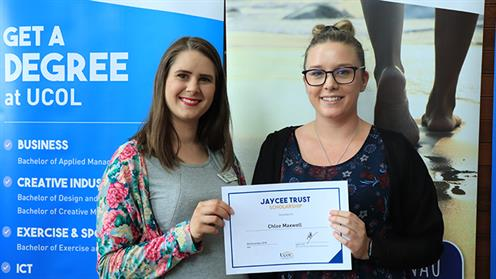 A photograph of Aleisha Rutherford of Jaycee Trust and UCOL scholarship recipient Chloe Maxwell.