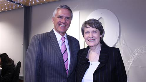 A photograph of UCOL Council Chair Ben Vanderkolk and Helen Clark at the 10 year campus celebrations in Whanganui.