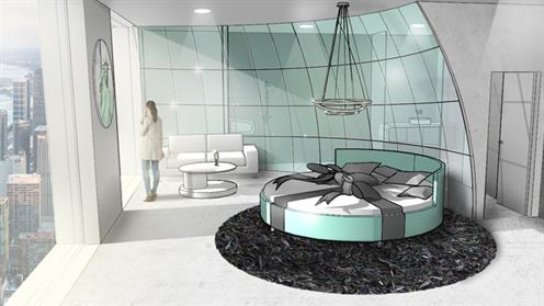 An image of an interior design sketch of a hotel room created by a UCOL student