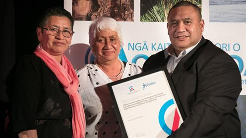A photograph of UCOL New Zealand Diploma in Business student Aaron McGregor receiving the Ngā Raumanako Māori Scholarship.
