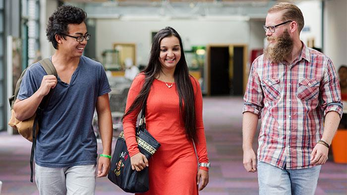 A photograph of some students walking inside the atrium at UCOL in Whanganui