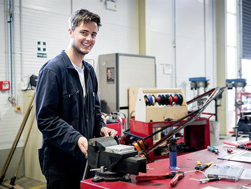 An automotive student works in the Regional Trades and Technology Centre at our Palmerston North campus
