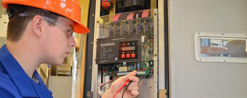An electrical student works in the Regional Trades and Technology Centre at our Palmerston North campus