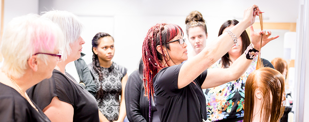 A hairdressing class at UCOL Whanganui