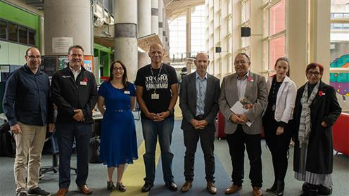 A photo of UCOL staffs with MP Adrian Rurawhe at the Palmerston North campus.